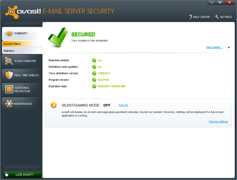 Startbildschirm von avast Security for Exchange Server