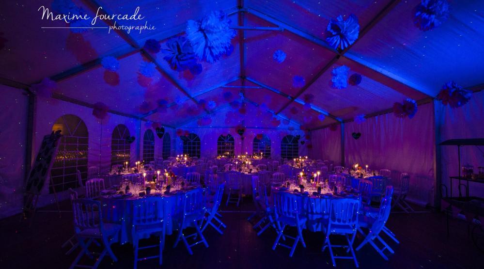Lumières décoratives, ambiance lumineuse, mise en lumières de salles de mariages La Bruche Animation