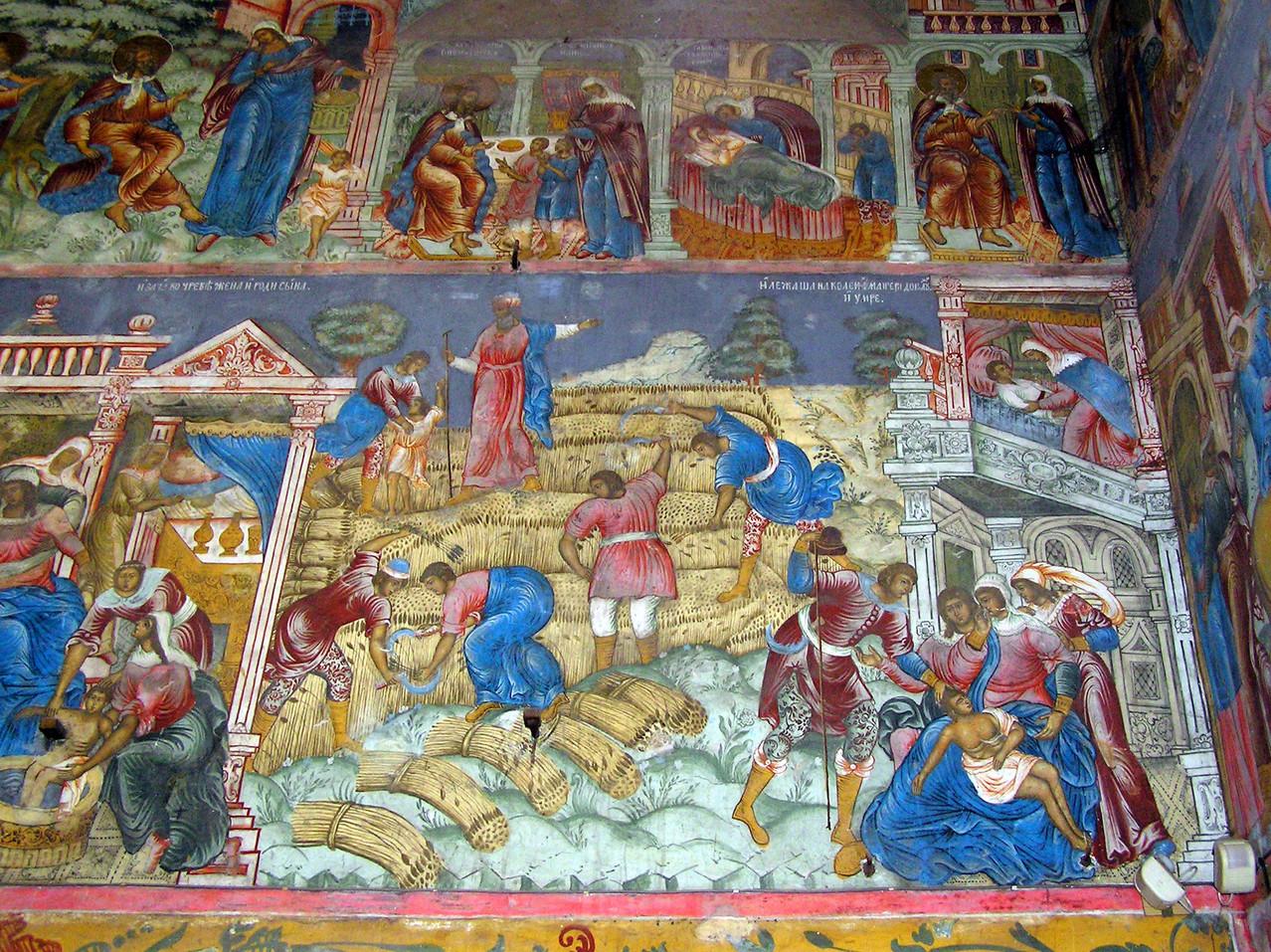... mit interessanten Fresken und Ikonen, die  volksnaher sind als sonst üblich.