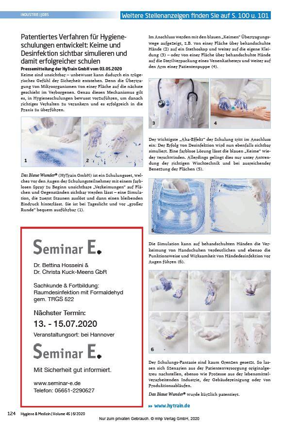 Veröffentlichung Printausgabe Hygiene & Medizin 06/2020