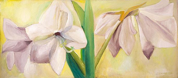 Dorothea Schrade, Auf weißen Flügeln, 2006, Öl/LW, 113x254 cm