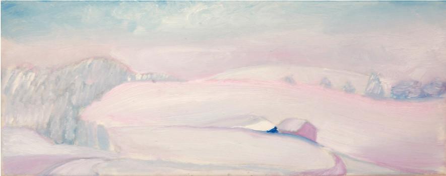Dorothea Schrade, Rosenrot, 2011, Öl auf Leinwand, 20 x 50 cm