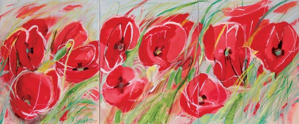 Dorothea Schrade, 2010, Mohn-Triptychon, Kalk/Öl auf Leinwand, 100 x 240 cm