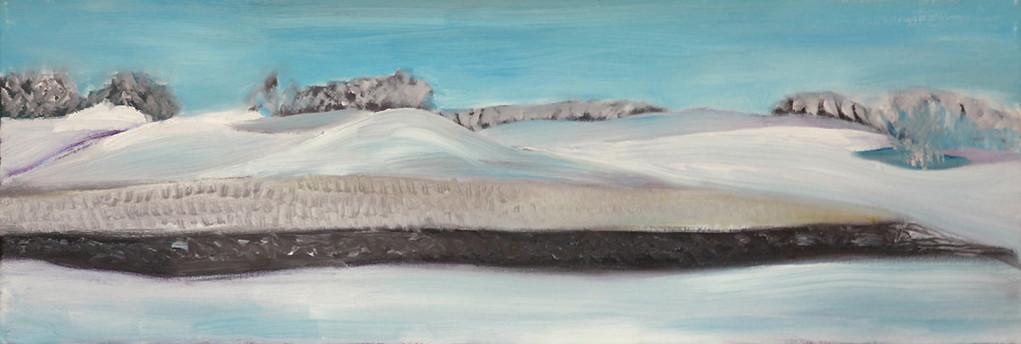 Dorothea Schrade, Nochmals Schnee, 2011, Öl auf Leinwand, 30 x 90 cm