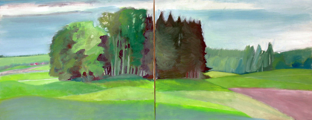 Dorothea Schrade, Im September, 2011, Öl auf Leinwand, 80 x 200 cm