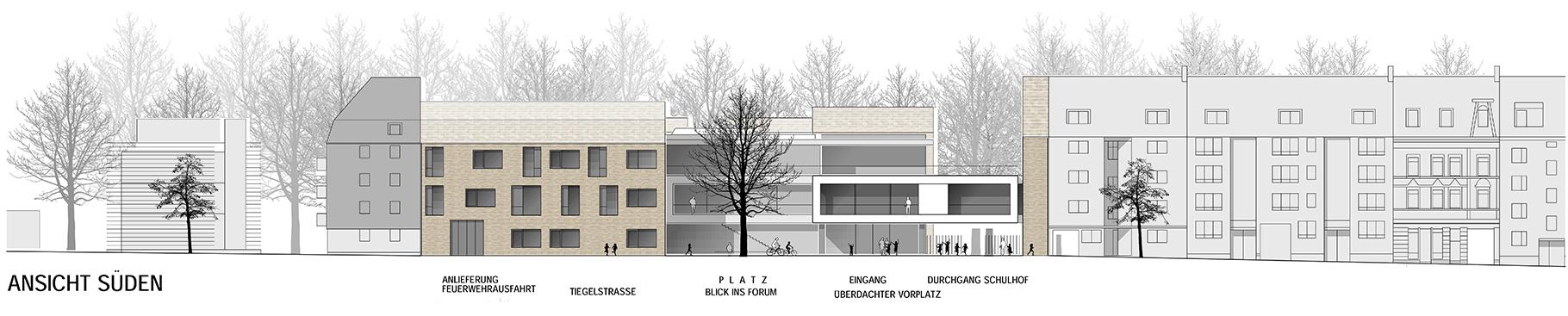 Anerkennung im Wettbewerb Neubau Tiegelschule Essen, ansicht Süd