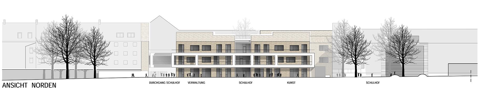 Anerkennung im Wettbewerb Neubau Tiegelschule Essen, Ansicht Nord
