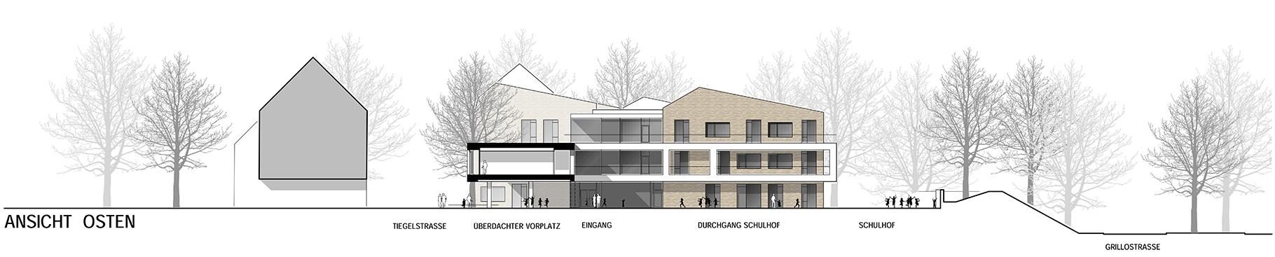 Anerkennung im Wettbewerb Neubau Tiegelschule Essen, Ansicht Ost