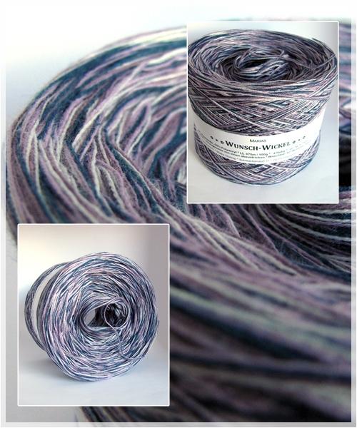 Melierte Wolle ohne Farbverlauf in petrol-erika-violett-hellgrau