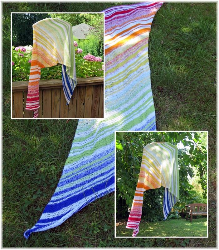 """Schal """"Doppler Effect"""" nach einer Idee von Sarah Cooke Desings / Wolle: Leuchtturmtuch Regenbogen / Verbrauch 1000m / NS 3,25"""