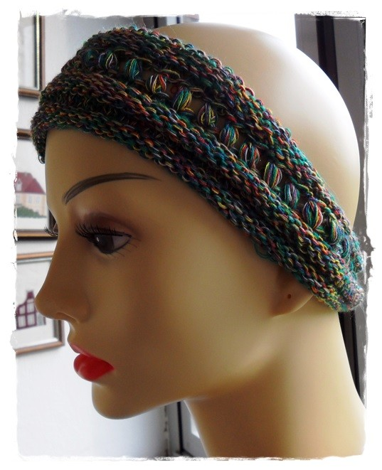 """Stirnband aus meiner Wolle """"Indianerhäuptling""""; gestrickt von Brigitte W."""