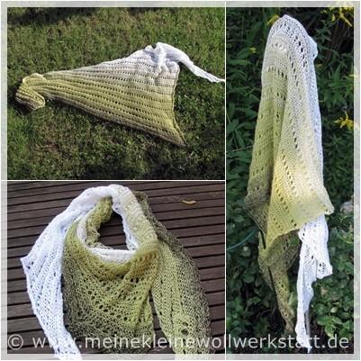 """Asymmetrisches Dreieckstuch / Wolle:"""" Winterwiese"""" Farbverlaufsgarn / Verbrauch 105g"""