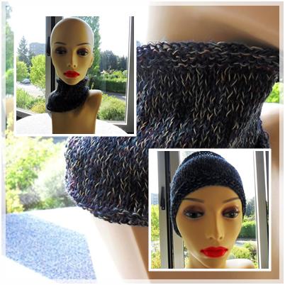 Stirnband /Kragen aus meiner Wolle; gestrickt von Brigitte W.