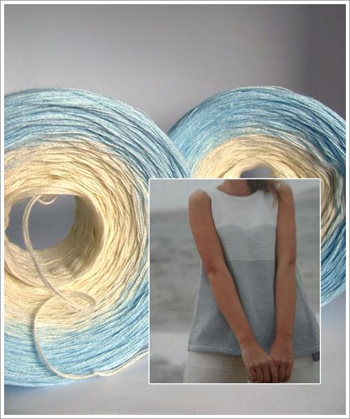2 Knäuel im Farbverlauf creme-hellblau für ein Sommertop mit breiterem Streifen in hellblau