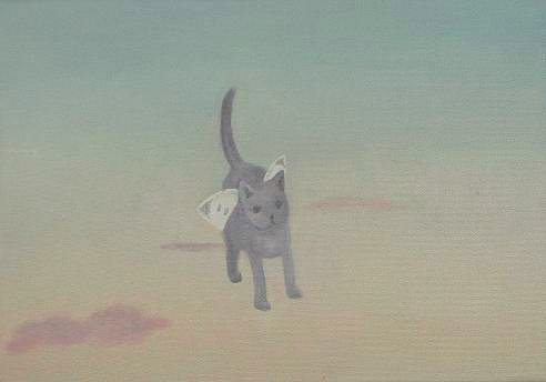 """""""モンシロチョウの羽をもつネコ"""" oil on canvas, 2008"""