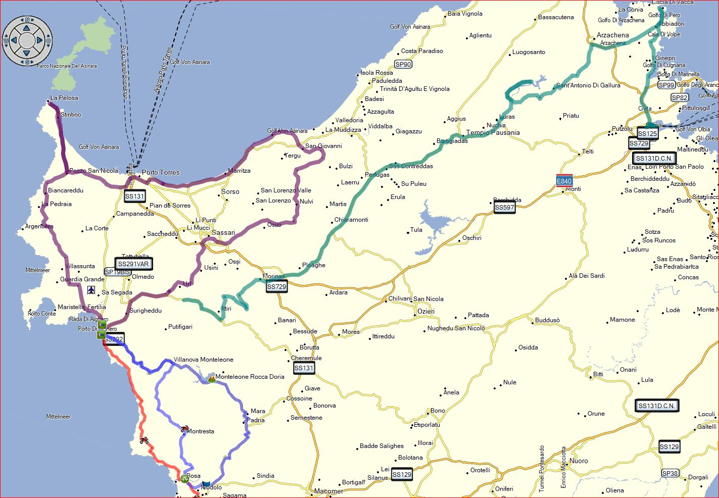 Strecken im Nordwesten um Alghero und zum Fährhafen Olbia im Nordosten