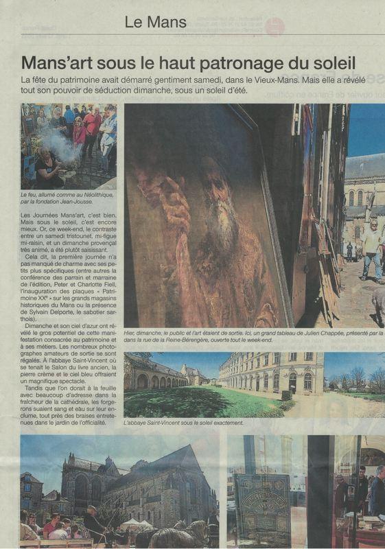 Ingrid a mis le feu sur le stand du Perche Sarthois. L'article de Ouest France du lundi 13 avril.