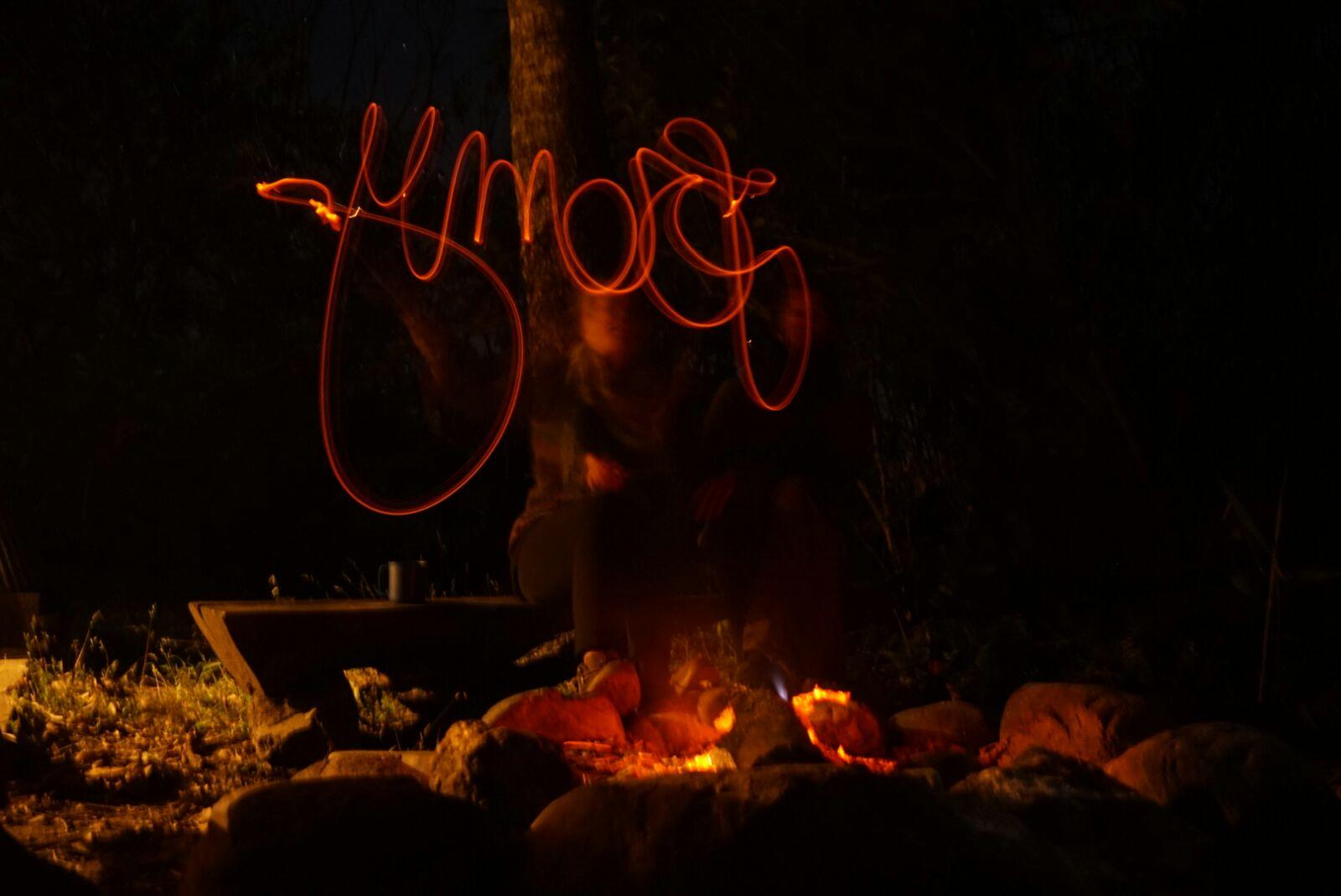 Essais d'écriture avec du feu