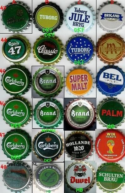 European beer caps, row 43-48.