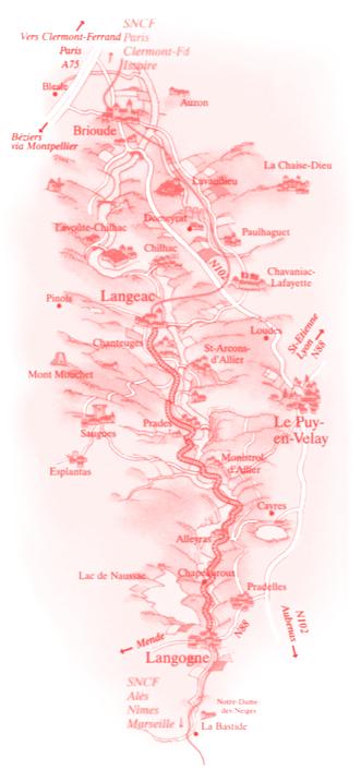Carte parcours Train Touristique des Gorges de l'Allier