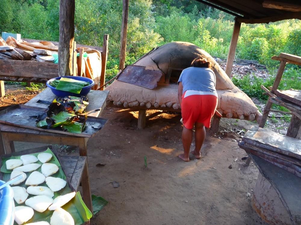 Cooking rice bread empanadas