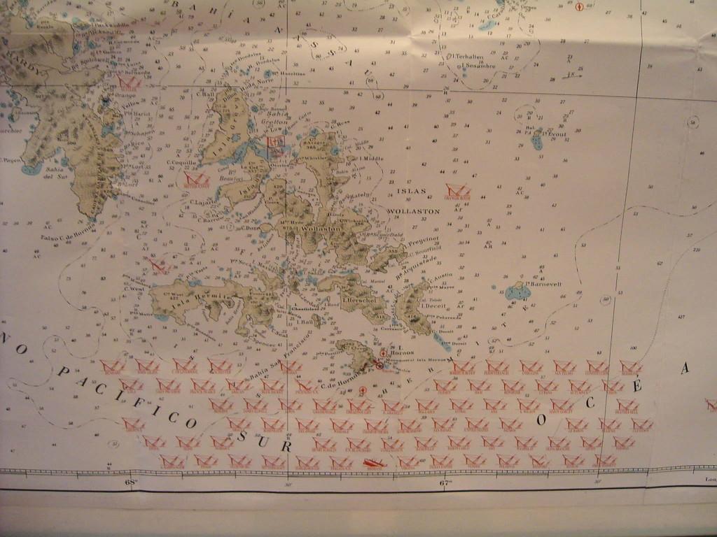 Karte von untergegangenen Schiffen vor Kap Hoorn