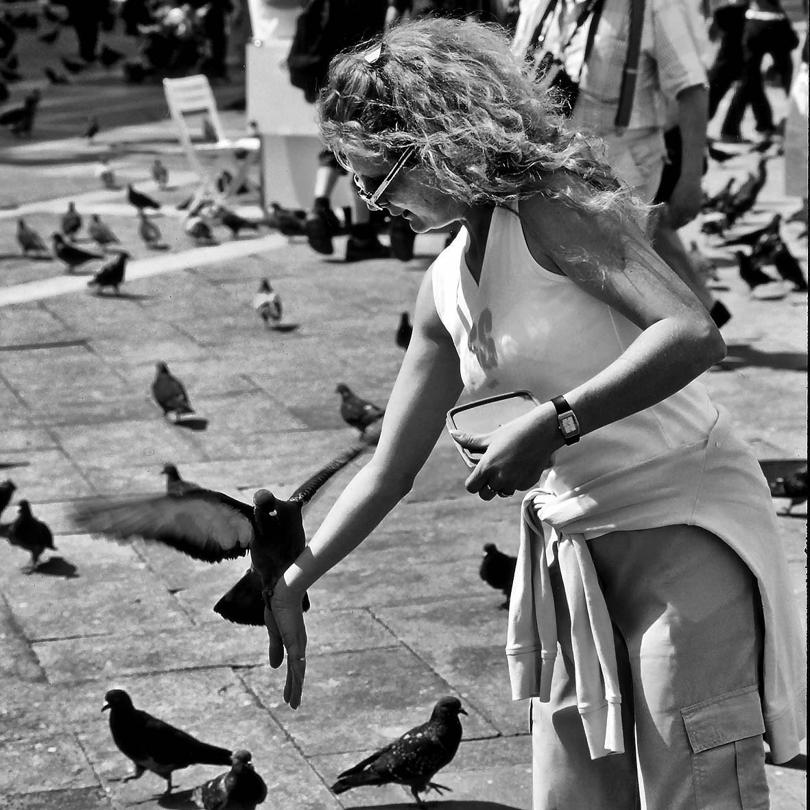 Taubenfütterung, Markusplatz, Venedig 1997
