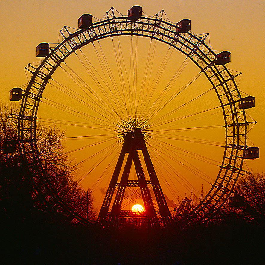 Riesenrad Wien von der Schnellbahn Praterstern aus, 15.02.1994