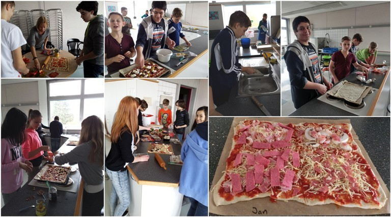 Die Schüler der Klasse 8c versuchten sich als Pizzabäcker, unterstützt von ihren Tutorinnen, Frau Fath und Frau Follenius.