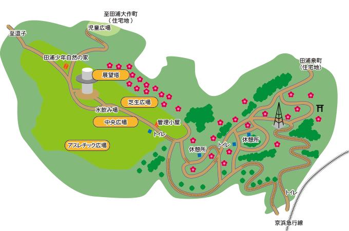 京浜田浦駅からバス「安浦2丁目行」(約10分)「田浦郵便局」下車、徒歩15分 JR田浦駅から徒歩20分