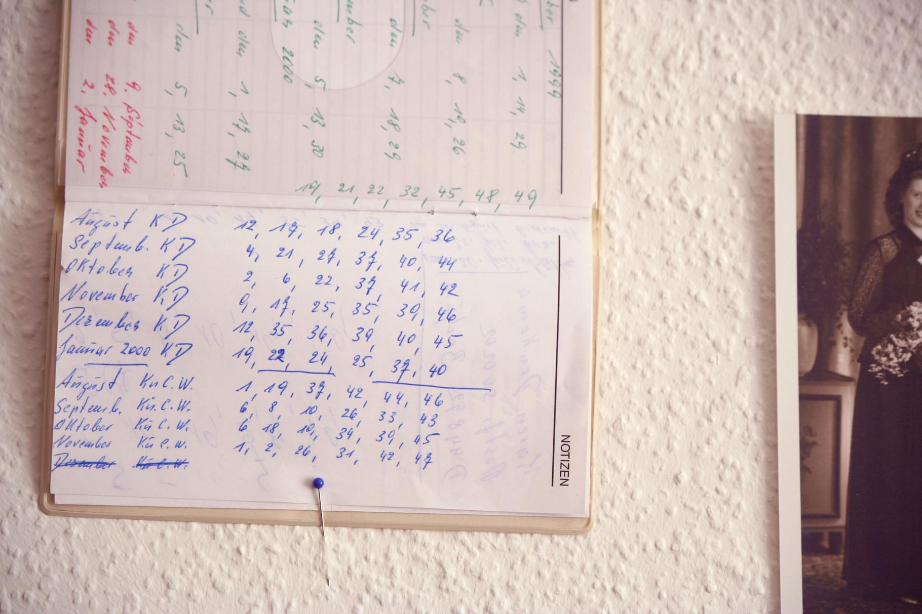 Detailansicht 3, Assemblage, Notizbuch mit Zahlenfolgen