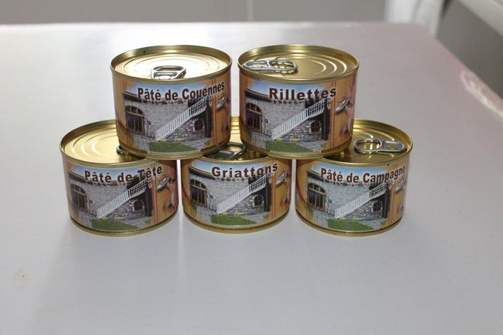 Nos petites boites de pâtés en conserves