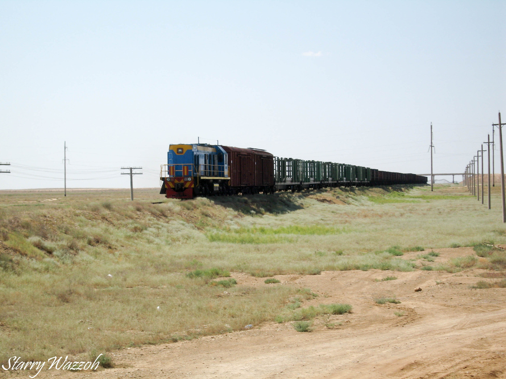 Rolling on down the line, near Makat, Kazakhstan 2006