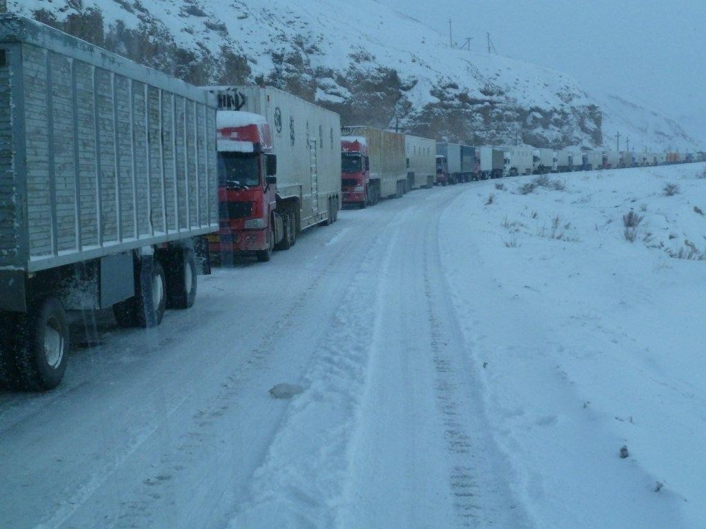 Trucks Queuing at Kyrgyzstan China Border at Irkeshtam 2011