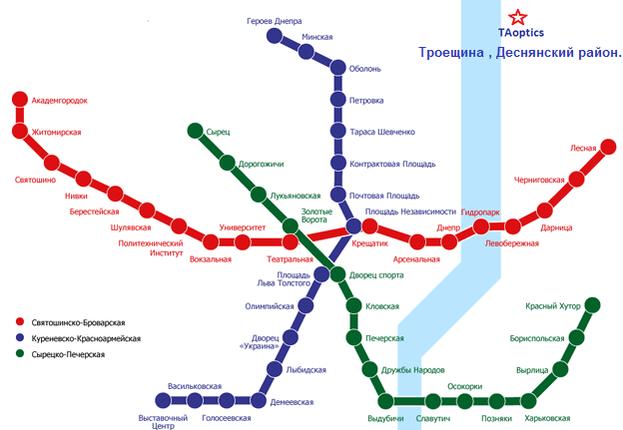 Схема метро Киева. Магазин оптики taoptics