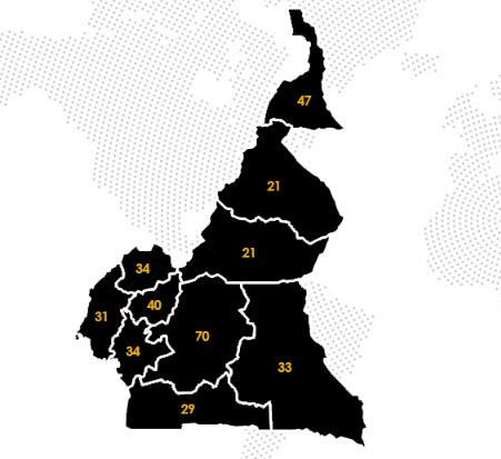 Nombre d'arrondissements et de communes par Région. Chiffres de 1998
