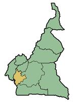 La Région du Littoral (en jaune) sur la carte du Cameroun
