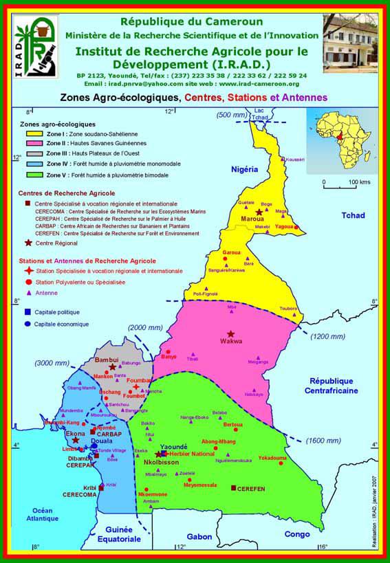 Centres, antennes et stations de l'IRAD à travers le Cameroun