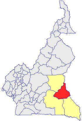 Le Département de la Kadey (en rouge) et les autres départements de la région de l'Est (en jaune) sur la carte administrative du Cameroun