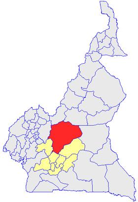 Le Département du Mbam et Kim (en rouge) et les autres départements de la région du Centre (en jaune) sur la carte administrative du Cameroun
