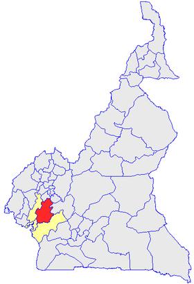 Le Département du Nkam (en rouge) et les autres départements de la région du Littoral (en jaune) sur la carte administrative du Cameroun
