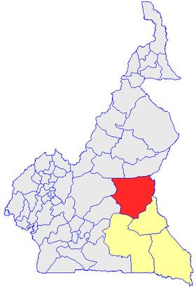 Le Département du Lo et Djerem (en rouge) et les autres départements de la région de l'Est (en jaune) sur la carte administrative du Cameroun