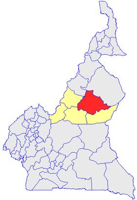 La Vina, en rouge et les autres départements de l'Adamaoua, en jaune