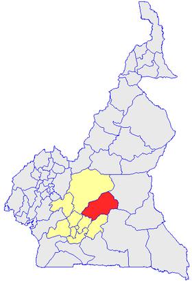 Le Département de la Haute Sanaga (en rouge) et les autres départements de la région du Centre (en jaune) sur la carte administrative du Cameroun