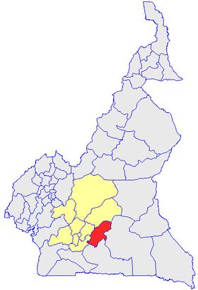 Le Département du Nyong et Mfoumou (en rouge) et les autres départements de la région du Centre (en jaune) sur la carte administrative du Cameroun