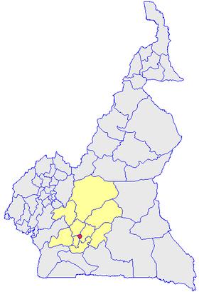 Le département du Mfoundi, en rouge sur la carte