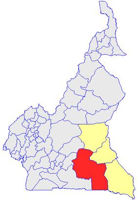 Le Département du Haut-Nyong  (en rouge) et les autres départements de la région de l'Est (en jaune) sur la carte administrative du Cameroun