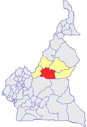 Le Djérem, en rouge et les autres départements de l'Adamaoua, en jaune