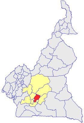 Le Département de la Mefou et Afamba (en rouge) et les autres départements de la région du Centre (en jaune) sur la carte administrative du Cameroun