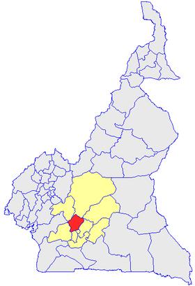 Le Département de la Lékié (en rouge) et les autres départements de la région du Centre (en jaune) sur la carte administrative du Cameroun